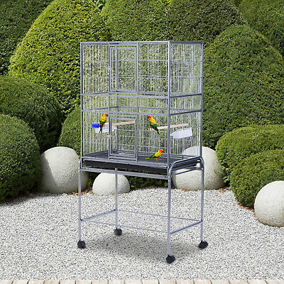 PawHut Large Bird Aviary Cage Rolling Metal House On Wheels With Stand &Tray