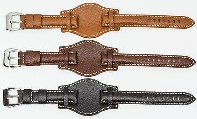 Genuine mens Leather Military Cuff Watch Strap band 18mm 20mm 22mm and 24mm NEW