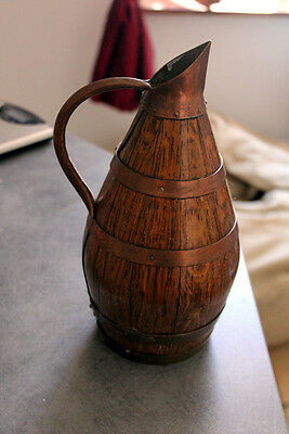Vintage French Oak And Copper Pitcher Wine Or Cider
