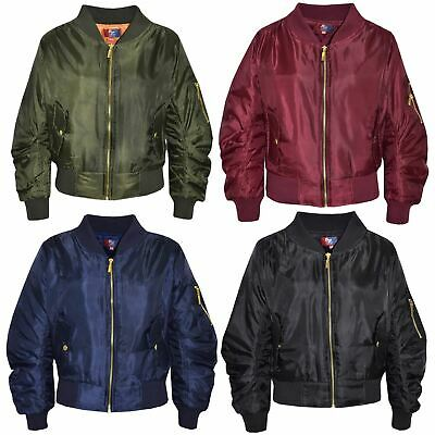 Kids Jacket Girls Boys Ruch Sleeves Bomber Padded Zip Up Biker Jacktes MA 1 Coat