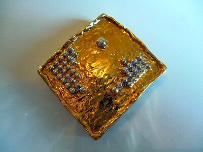 Solid Gold Tone Mixed Metal Hand Made Retro Brutalist Brooch Jewellery Square