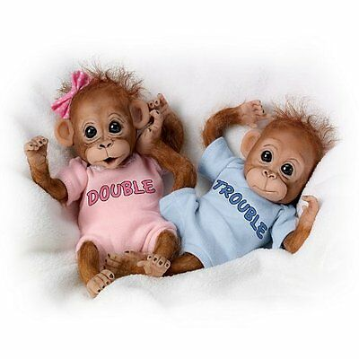 """PRECIOUS 8"""" SO REAL set of BABY MONKEY double trouble TWINS DOLL DOLLS NEW"""
