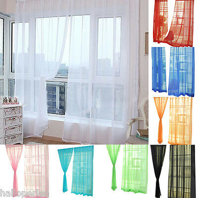 NEW Pure Color Transparency Gauze Door Window Curtain For Living Room Bedroom