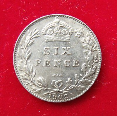 1902 Edward VII .925 Silver British Sixpence Penny 6d Coin Superb EF example