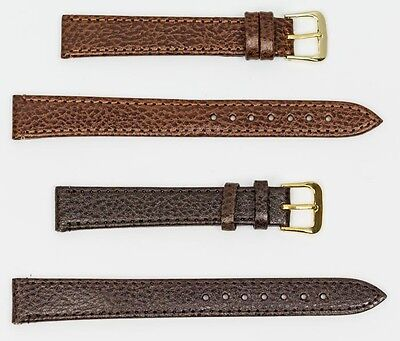 EXTRA LONG XL genuine buffalo leather watch strap band brown gold buckle formal