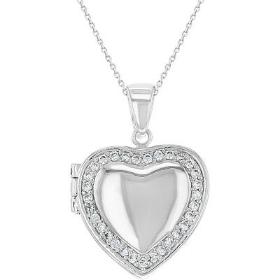 """Rhodium Plated Clear Crystal Love Heart Photo Locket Pendant Necklace 18"""""""