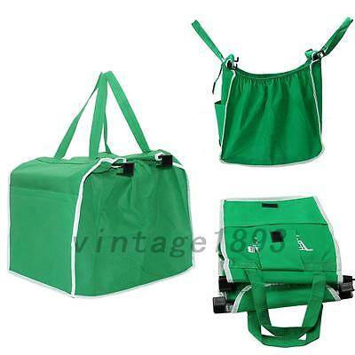 1PCS Foldable Tote Eco-friendly Reusable Trolley Supermarket Shopping Bags Green