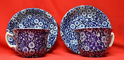 2 Vintage Staffordshire Blue Calico Chintz Cups & Saucers  NICE