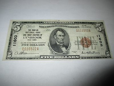 $5 1929 Lynbrook New York NY National Currency Bank Note Bill Ch #11603 VF+!