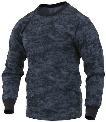 Military T-shirt Camo Long Sleeve Navy Blue Digital Camouflage Rothco 68947