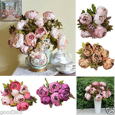 1Bouquet 8 Heads Artificial Peony Silk Flower Leaf Wedding Party Home Decor New