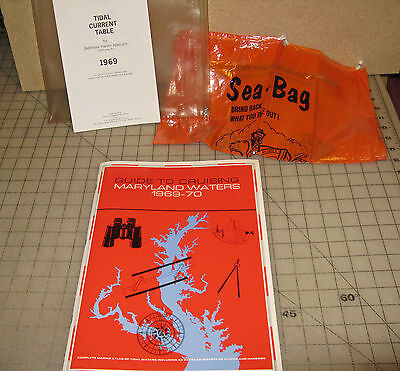 1969-1970 GUIDE TO CRUISING MARYLAND WATERS Boater's Kit with Litter Bag + More