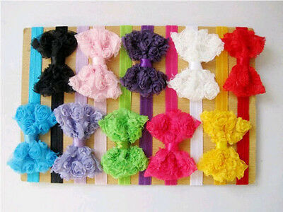 10pcs Baby Kids Girl Toddler Lace Flower Bowknot Headband Hair Band Accessories