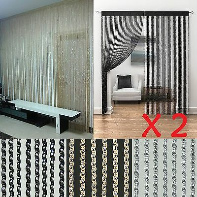 2 Pcs String Sparkle Curtains Patio Fly Screen Fringe Room Divider Door Window
