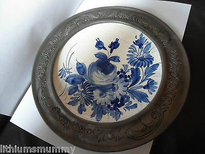 Hand Painted Vintage Italian Trivet / Plate Within Peltro Pewter Surround ( Ag3)
