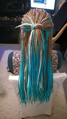 40 Double Ended Dread Lock Rasta Extension Colore Celeste