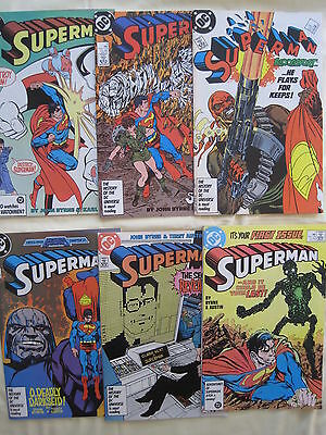 SUPERMAN complete run of #s 1,2,3,4,5,6. NEW LAUNCH by John BYRNE etc.DC.1987