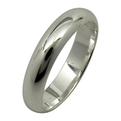 Sterling Silver Plain 4mm Wedding Band Ring Half Round Dome Engagement .925