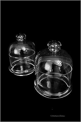 Set 2 Small Clear Glass Round Individual Serving Domed Covered Butter Dish