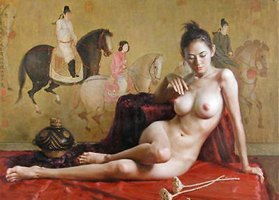 Original Handcrafted Portrait Oil Painting on Canvas,Classical Nude 24x36inch