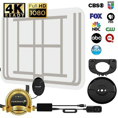 Fosmon [60 Mile] Ultra Thin Flat Indoor HDTV Amplified HD TV Transparent Antenna