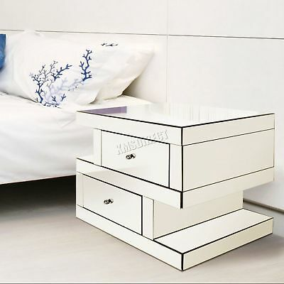 FoxHunter Bevelled Mirrored Furniture Bedside Cabinet Table Bedroom MT04 Silver