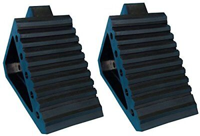 """YM W4194 Solid Rubber Wheel Chock with Handle, 8-3/4"""" Length, 4"""" Width, 6"""""""