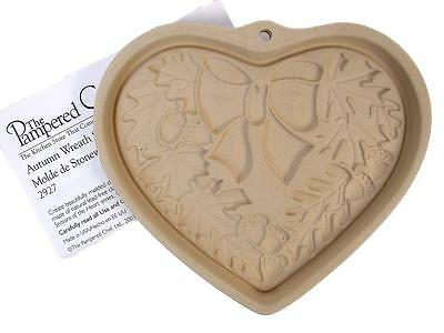The Pampered Chef 2003 AUTUMN WREATH Stoneware Cookie Chocolate Mold LE New #9