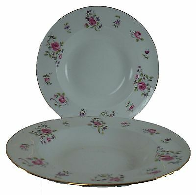"""CROWN STAFFORDSHIRE china F7295 pattern Set of Two (2) Soup/Salad Bowls @ 8-3/8"""""""
