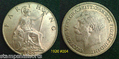 King George V Farthing 1920 High Grade VF - UNC. Choose your coin