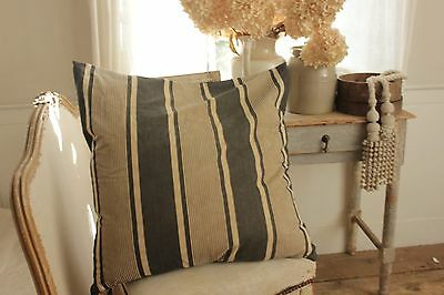 Antique Ticking French square striped blue indigo feather down pillow insert 24