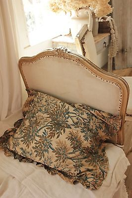 Antique Ticking French square Feather insert + pillow case c 1870 STUNNING