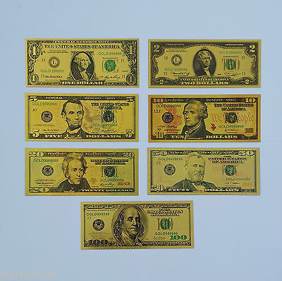 COLOURISED USD SET *7 banknotes* 24k Gold Plated Banknotes (only banknotes)