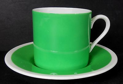 FITZ & FLOYD china PAPILLION GREEN pattern Demitasse Cup & Saucer - no butterfly