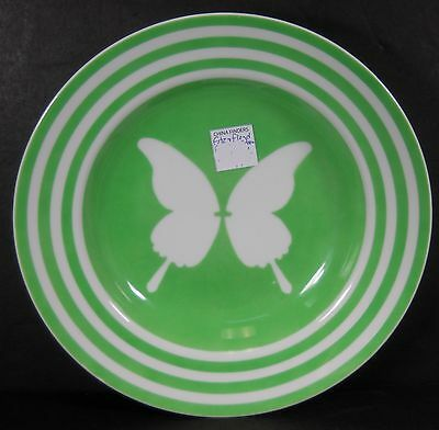 """FITZ & FLOYD china PAPILLION GREEN Soup or Salad Bowl - 9-1/4"""" Set of 2 w/ chips"""
