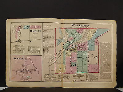 Wisconsin, Waukesha County Map, 1873 City of Waukesha, Sussex, Hartland O3#22