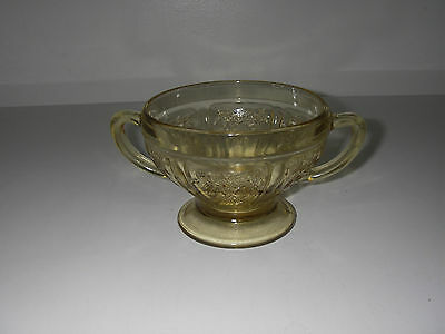 Federal Glass SHARON Cabbage Rose Amber Open Sugar footed 3 1/8 Depression Glass