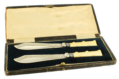Antique Silverplate Fish Knife Boxed Pair Short Textured Bone Handles Bright Cut