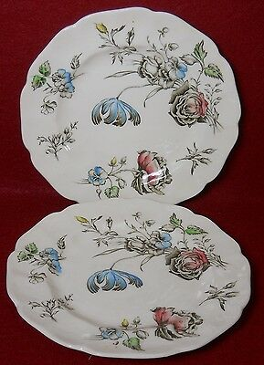 """JOHNSON BROTHERS china DAY IN JUNE Multicolor Bread Plate Set of Two (2) 6-1/4"""""""