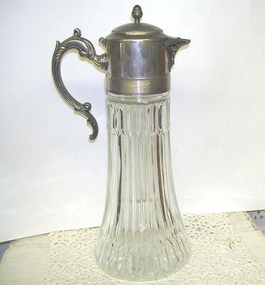 Antique Glass Pitcher Carafe With Decorative Silver Top And Ice Chamber