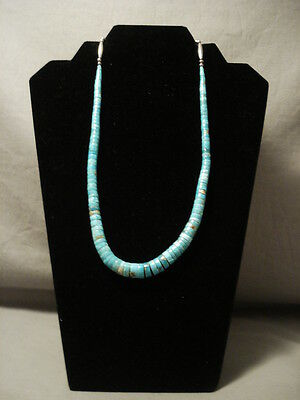 "Superior Vintage Navajo """"graduating #8 Turquoise"""" Silver Necklace"