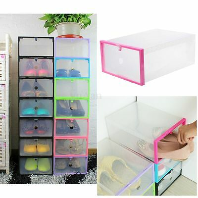 1-20PCS Plastic Clear Shoe Box Case Stackable Foldable Storage Organiser Holder