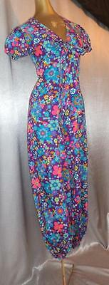 PSYCHEDELIC FLORAL PRINT 70s Vintage WHIMSICAL WIDE LEG ONE PIECE JUMPSUIT - SM