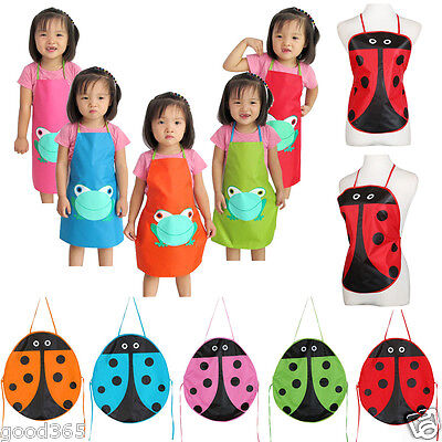 Kids Children Waterproof Animal Printed Apron Painting Eat Drink Outerwear New