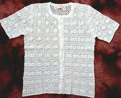 Lovely Vintage Handmade Crocheted Ladies Cotton Jacket White Size Large  Vgc