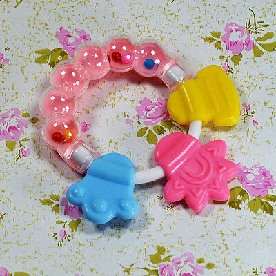 1x Baby Teether Chew Molar Rod Silicone Handbell Jingle Safe And Clean MQQ