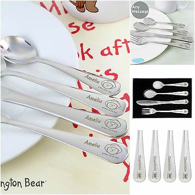 Personalised Engraved Child's Childrens CUTLERY SET Boys Girls Christening Gift
