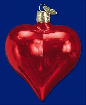 Large Shiny Red 3 Inch Heart Old World Christmas Valentine's Day Ornament 30012