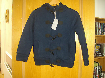 Demo ~ Boys Navy Blue Knitted Jacket With Fur Lined Hood ~ Age 7-8 Years Bnwt