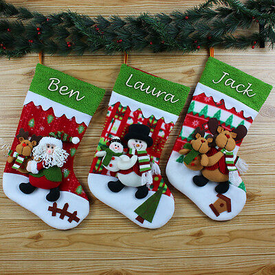 XL 3D Personalised Embroidered Christmas Santa Snowman Reindeer Stocking